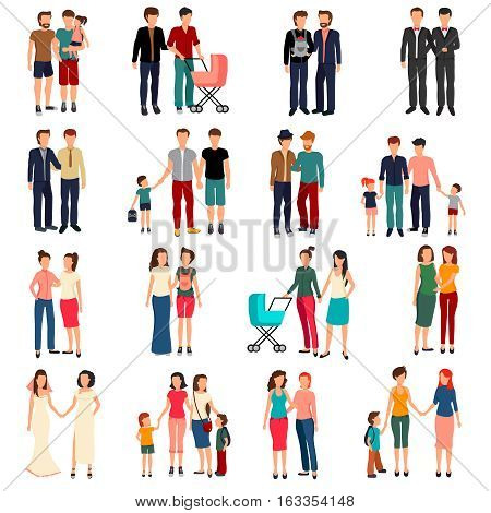 Flat set of male and female homosexual couples and families with children isolated on white background vector illustration