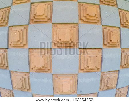 Cement and Brick Art Background Wallpaper. Checkerboard Style Bali Indonesia
