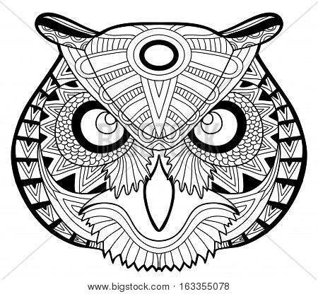 Coloring page for adults. The head of a owl. Monochrome patterns with ink. Line art. For tattoo and other designs. Zenart