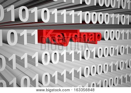 Keydnap in the form of binary code, 3D illustration