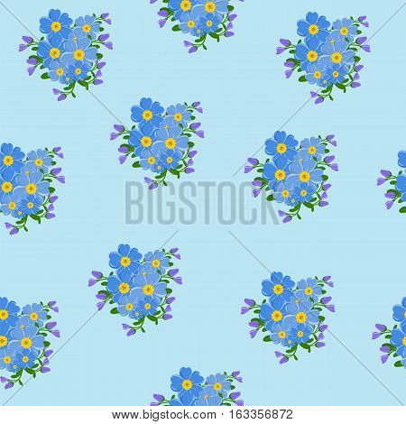 Seamless floral pattern. Forget-me-nots on a blue background vector illustration