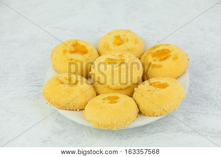 Delicious Crispy Biscuits Isolated On White