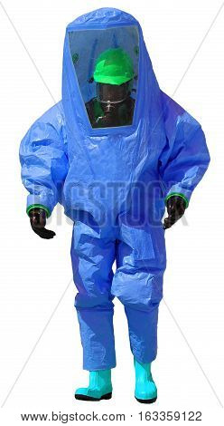 Person With Protective Blue Overalls Against The Biohazard And W