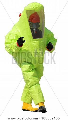 Person With Protective Yellow Suit And White Background