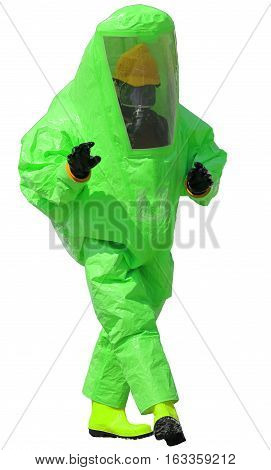Person With Protective Suit With Breathing Apparatus