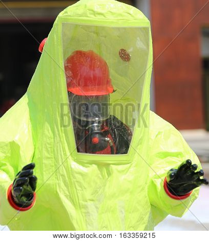 Person With Yellow Overalls Anti-contamination