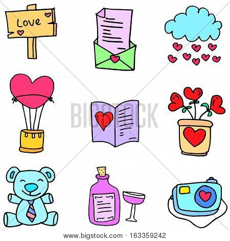 Collection stock of object love doodles vector art