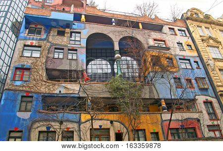 VIENNA, AUSTRIA - DECEMBER 30, 2007: Famous and bizarre apartment blocks by architect Friedrich Hundertwasser in Vienna, Austria