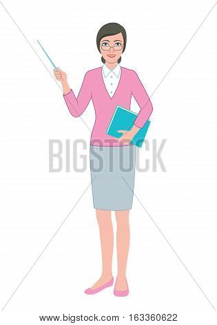 Color illustration of the friendly teacher woman with a pointer and a book