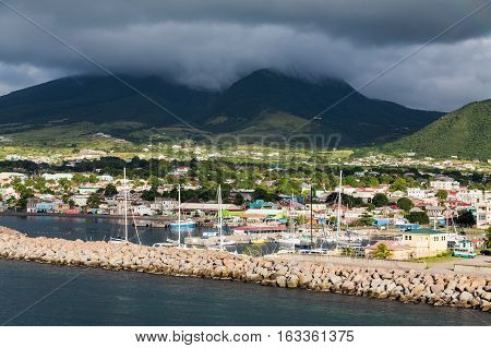 Protected Harbor on St Kitts with Green Mountains