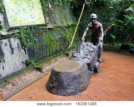 Statue Of Miner At The Park In Jiufen, Taiwan