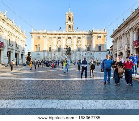 People On Piazza Del Campidoglio In Rome