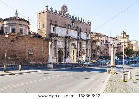 View Of Porta Del Popolo In Rome City