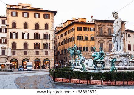 Piazza Della Signoria And Fountain In Morning