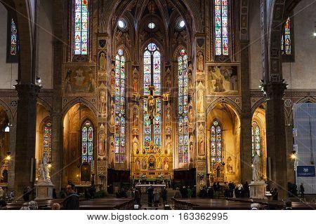 Altar Of Basilica Di Santa Croce In Florence