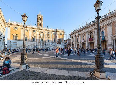 People Near Museum On Piazza Del Campidoglio