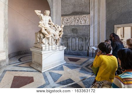 Visitors Near Laocoon And His Son Statue, Vatican