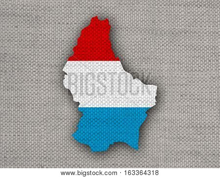 Map And Flag Of Luxembourg On Old Linen