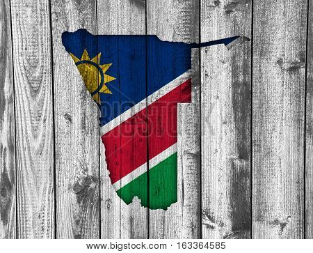 Map And Flag Of Namibia On Weathered Wood