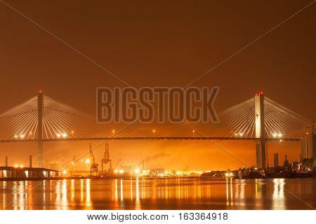 US-17 over Talmadge Memorial bridge and Port of  Savahhan, GA