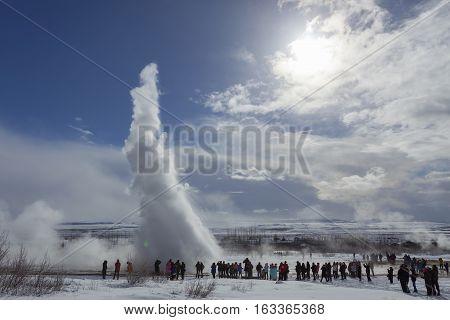 Iceland Geyser Strokkur Eruption