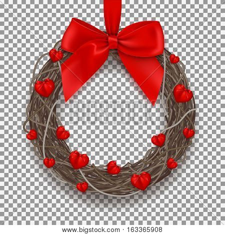 Realistic wreath isolated on transparent backdrop. Symbol of Valentine's Day with hearts and red bow on tape. Vector illustration.