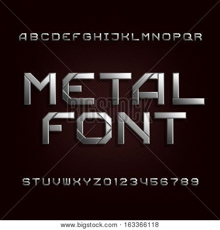 Metal alphabet font. Chrome effect letters and numbers on a dark background. Tough vector typeset for your design.