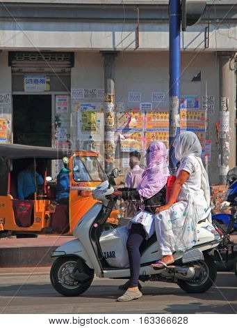 People Are Riding On Motorcycle In Hyderabad, India