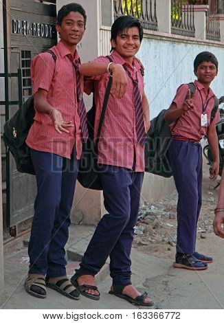 Schoolboys Are Walking From The School To Home