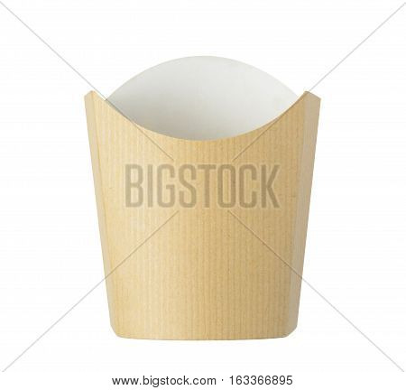 Kraft paper french fries bucket isolated on white background