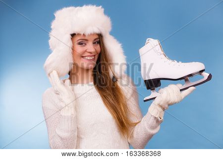 Woman With Ice Skates Getting Ready For Ice Skating.