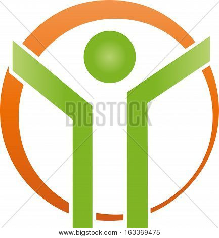 Person and circle, human, vector, person and human logo