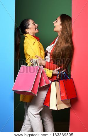 Funny Smiling Girls With Bags