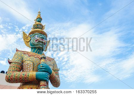 A mythical giant sculpture majestically stands as a guardian of protection, according to local Thai believe.