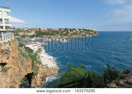 Antalya-Kaleici: Harbour and the old City Walls with the Mediterranian Sea and the 40m High Cliffs in Turkey