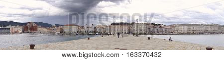 Panoramic photo taken at the end of the famous pier in Trieste, Molo Audace.