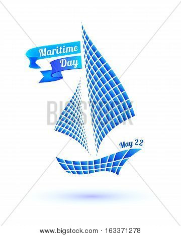 National Maritime Day card with ship symbol. Vector