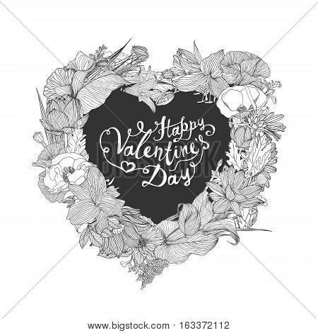 Happy Valentine's Day Card With Heart Of Flowers