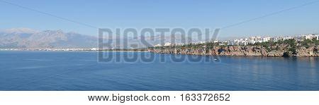 The Cliffs of Antalya and Konyaalti Beach at the Mediterranian Sea in Turkey