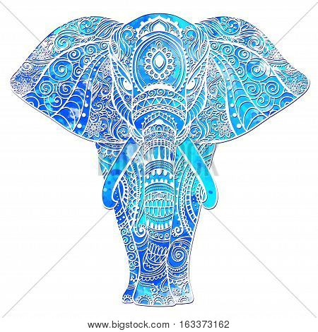 watercolor card with Elephant Frame of animal made in vector Elephant Illustration for design pattern textiles Hand drawn map with Elephant Bright print on t-shirt cup canvas and other object.