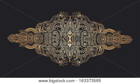 Ornament black white card with mandala. Geometric circle element made in vector.  Tribal, Boho, Bohemian style. kaleidoscope,  medallion, yoga, india, arabic