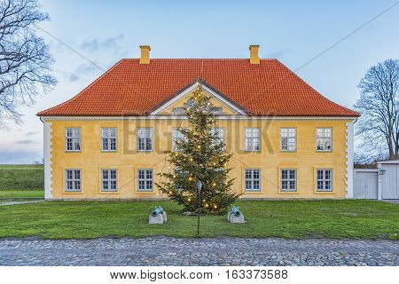 The Commander's House with christmas tree in Kastellet Copenhagen Denmark.