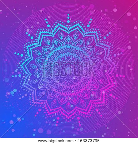 Ornament color card with mandala. Geometric circle element vector. Adults Coloring book. Kaleidoscope, medallion, yoga, india, arabic. Illustration for print, print notebook clothing