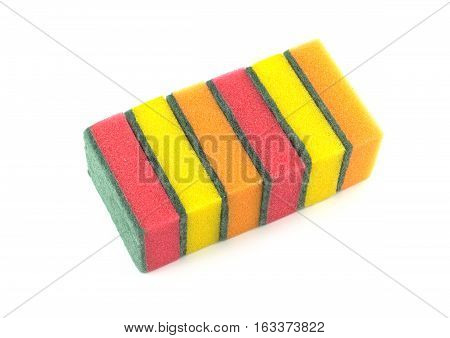 Stack of color kitchen cleaning sponges isolated on white background top view closeup