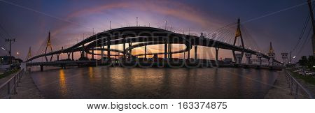 bhumiphol bridge crossing chaopraya river land transport in bangkok thailand capital