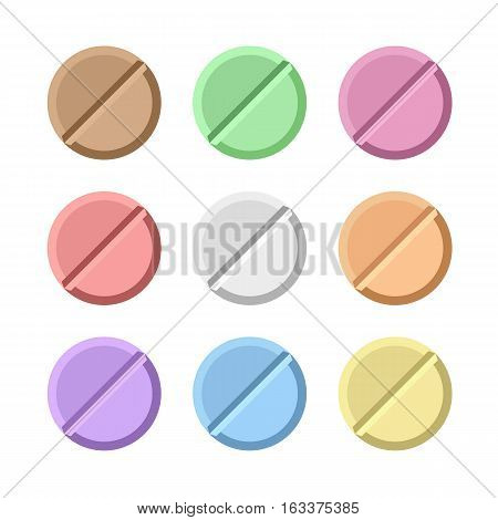 Set of vector pills . painkillers, antibiotics, vitamins and aspirin. Medical pills icon. vector illustration in flat style