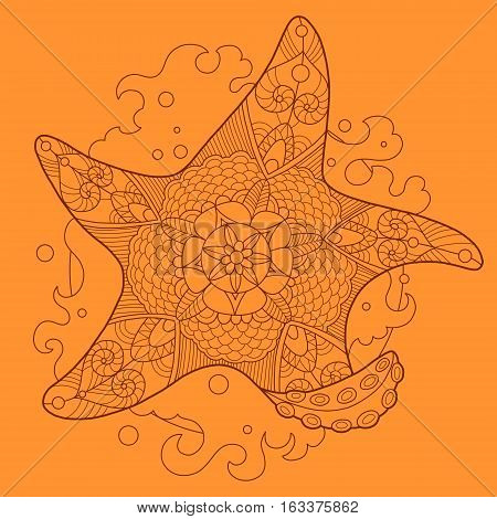 Starfish color drawing vector illustration. Tattoo stencil. Lace pattern