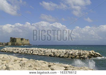 Napoli, Italy. Castel dell'Ovo photographed from Via Caracciolo.