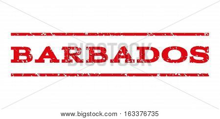 Barbados watermark stamp. Text tag between horizontal parallel lines with grunge design style. Rubber seal stamp with scratched texture. Vector intensive red color ink imprint on a white background.