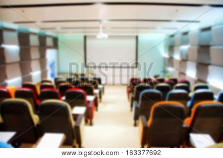 Abstract blurred colorful of the empty meeting or conference room. Interior room.